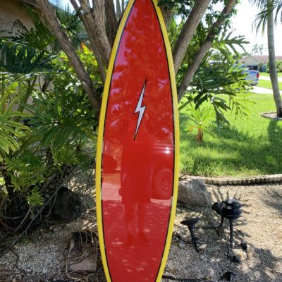 Retro Lightning Bolt Surfboard Wall Art